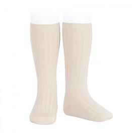 CONDOR Linen Ribbed Knee Socks