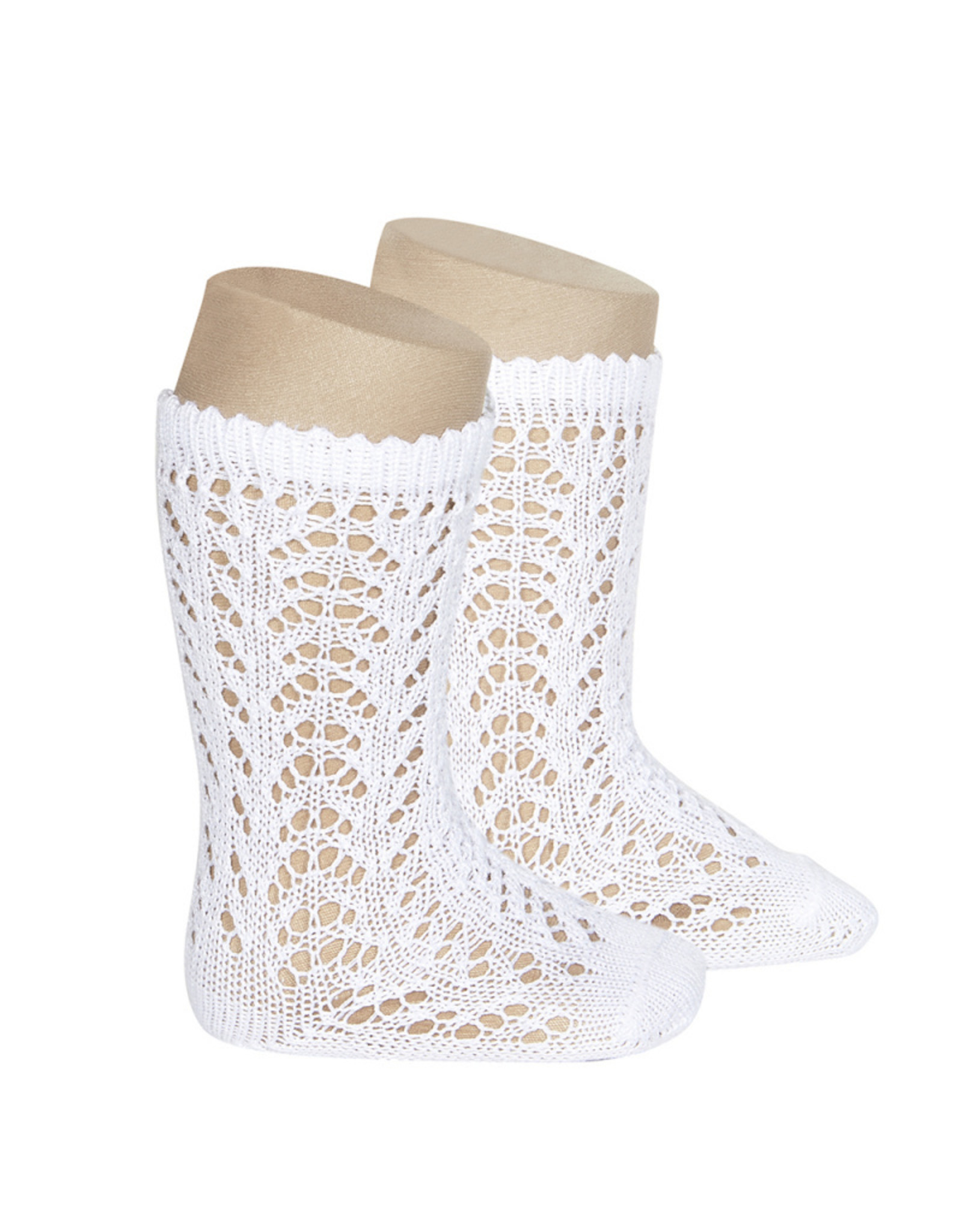 CONDOR White Openwork Knee Socks