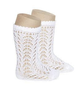 CONDOR White Openwork Knee Socks