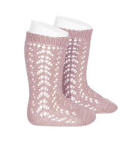 CONDOR Pale Pink Openwork Knee Socks