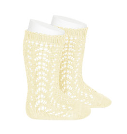 CONDOR Butter Openwork Knee Socks