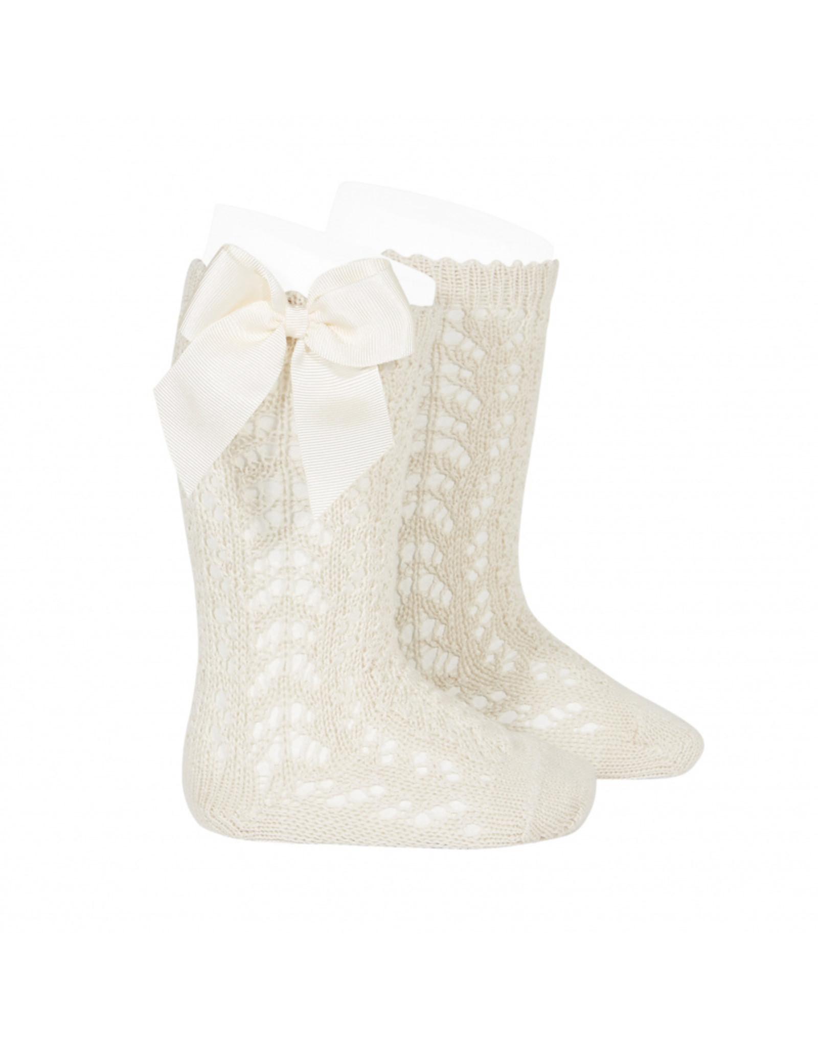 CONDOR Linen Openwork Knee Socks with Bow