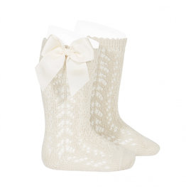 CONDOR Linen Perle Openwork Knee-High Socks with Bow