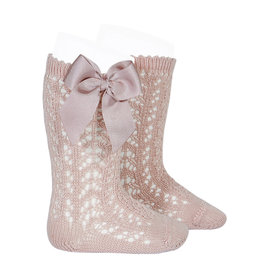 CONDOR Old Rose Openwork Knee-High Socks with Bow