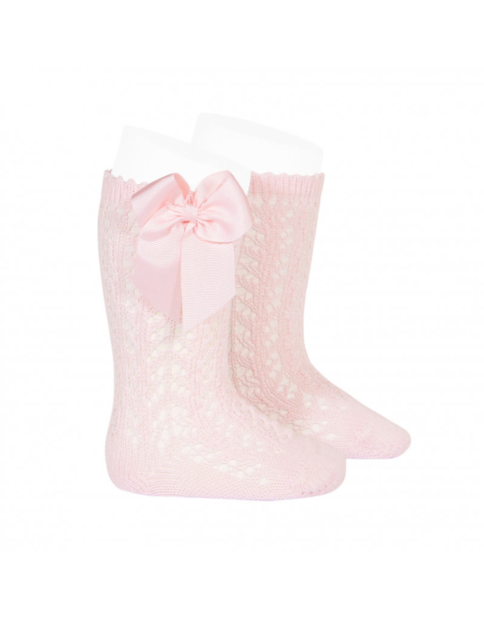 CONDOR Pink Openwork Knee Socks with Bow