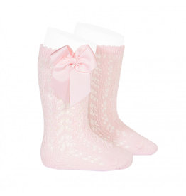 CONDOR Pink Openwork Knee Socks with Bow