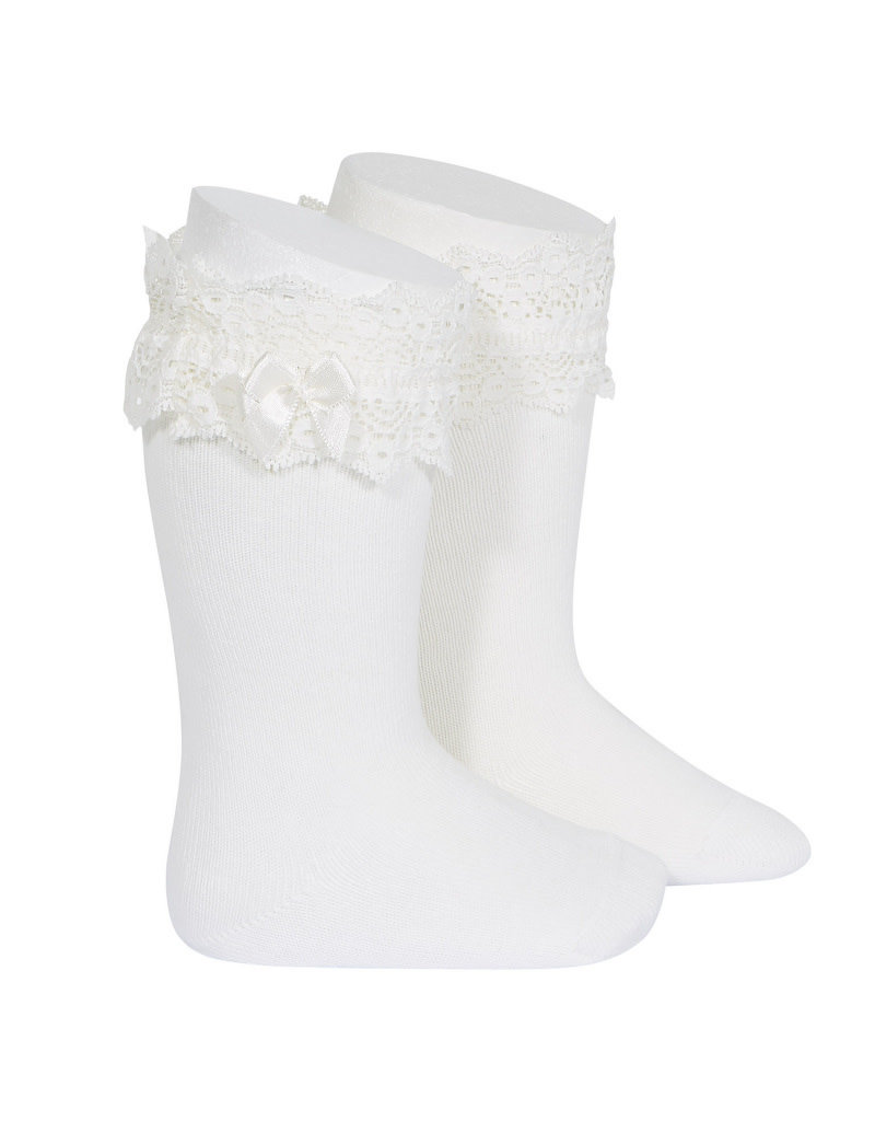 CONDOR Cream Lace trim socks with bow