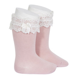 CONDOR Pale Pink Lace Trim Socks with Bow