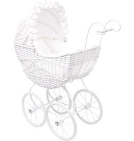 White Wicker Doll's Pram