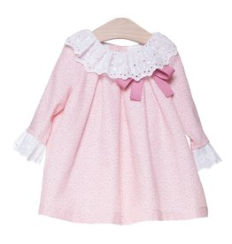 FINA EJERIQUE Girls Pink Dress with White Broderie Collar