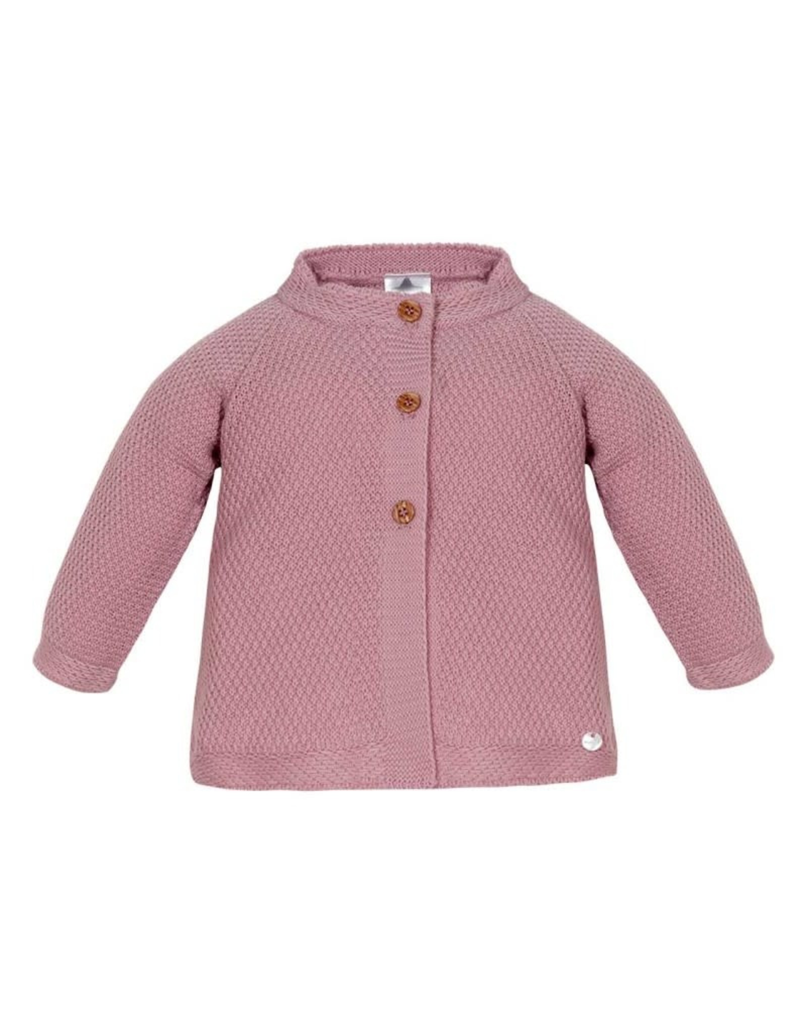 MINHON Old Pink Knitted Long Cardigan