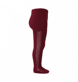 CONDOR Burgundy Side Openwork Tights