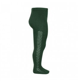 CONDOR Bottle Green Side Openwork Tights