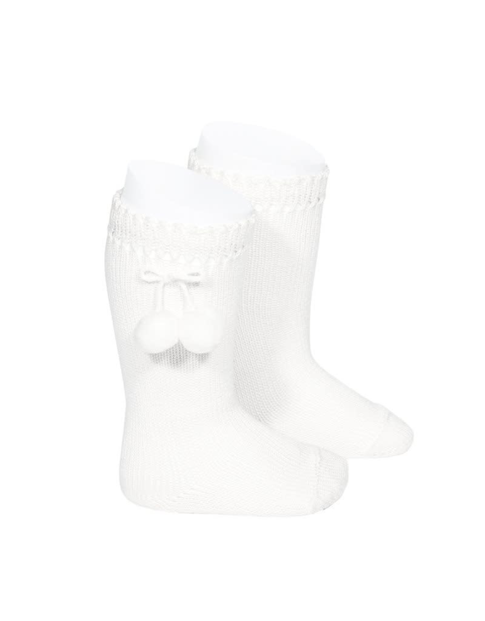 CONDOR White Perle Knee High Socks with PomPoms