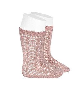 CONDOR Old Rose Metallic Openwork Socks