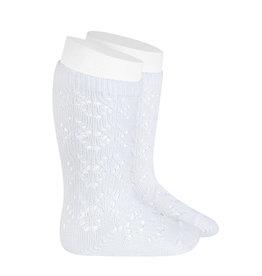 CONDOR White Geometric Openwork Socks