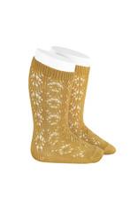 CONDOR Mustard Geometric Openwork Socks