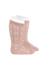 CONDOR Old Rose Geometric Openwork Socks