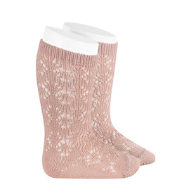 CONDOR Old Rose Geometric Openwork Socks