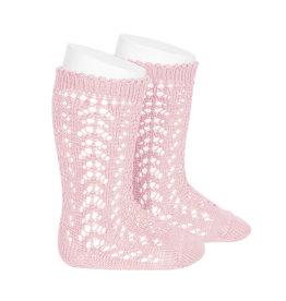 CONDOR Pink Openwork Knee Socks