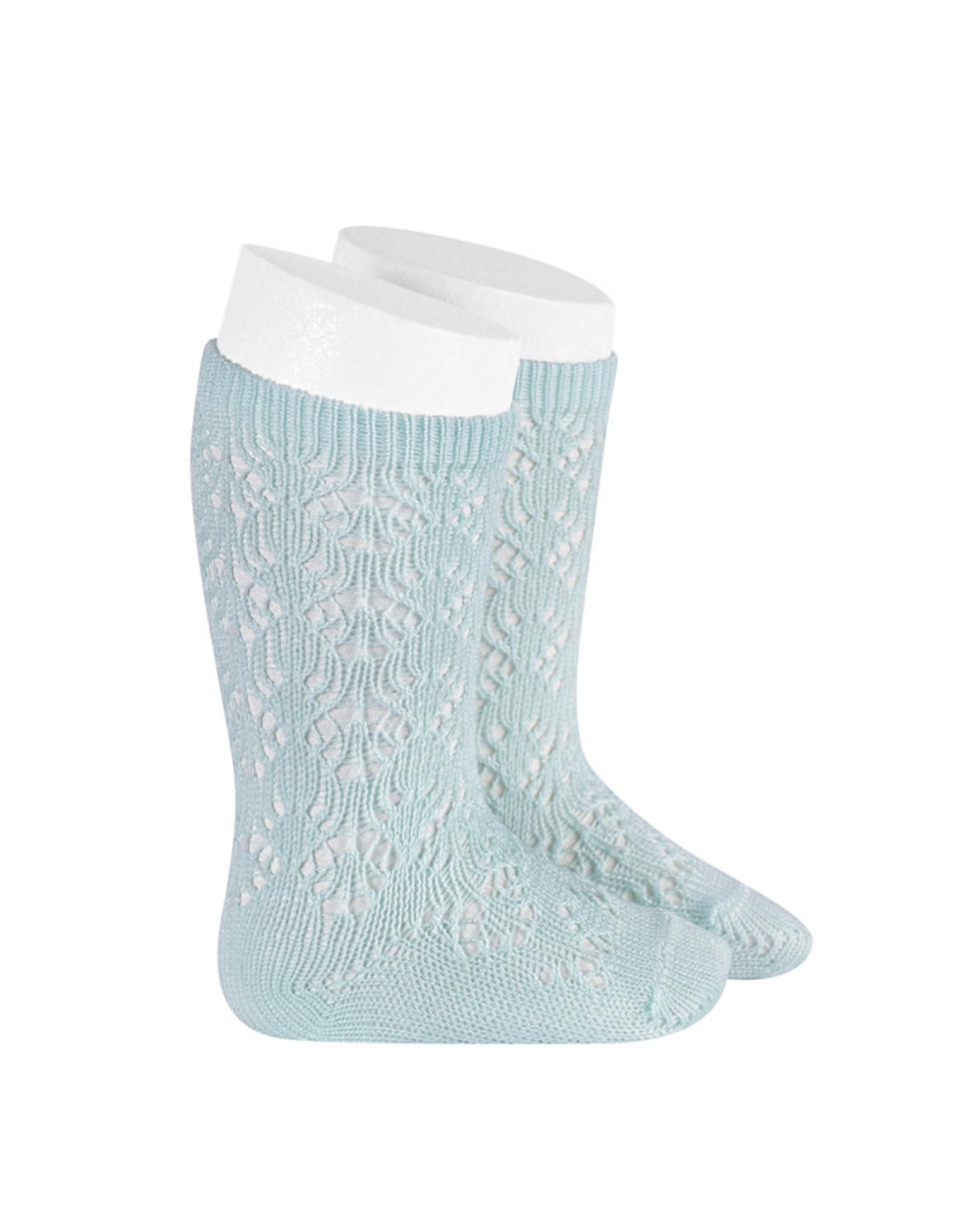 CONDOR Aquamarine Geometric Openwork Socks
