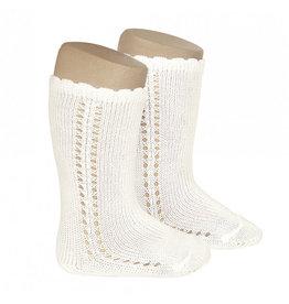CONDOR Beige Side Openwork Knee Socks