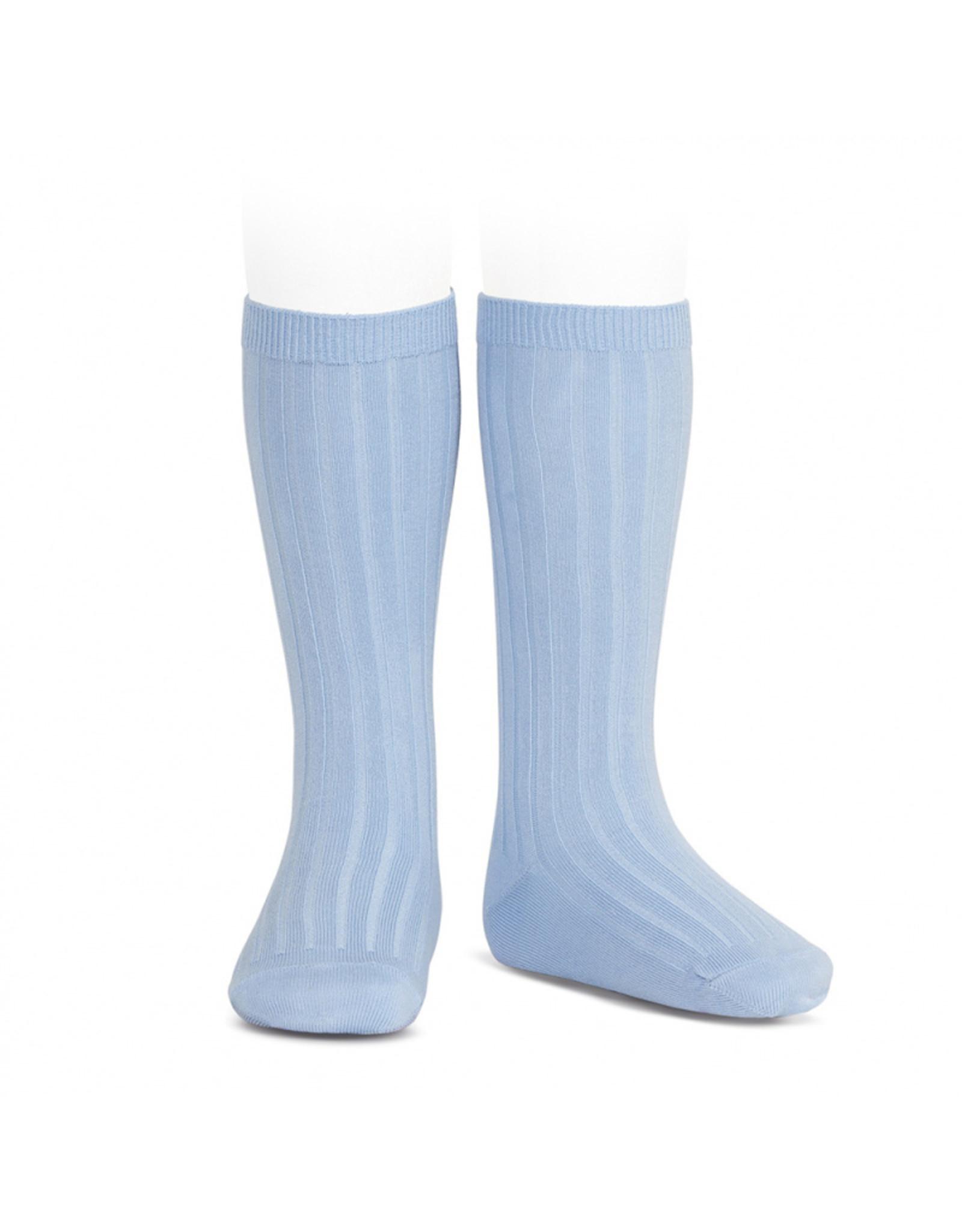 CONDOR Light Blue Ribbed Knee Socks