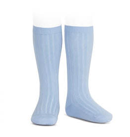 CONDOR Light Blue Rib Knee High Socks