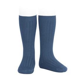 CONDOR Cobalt Ribbed Knee Socks