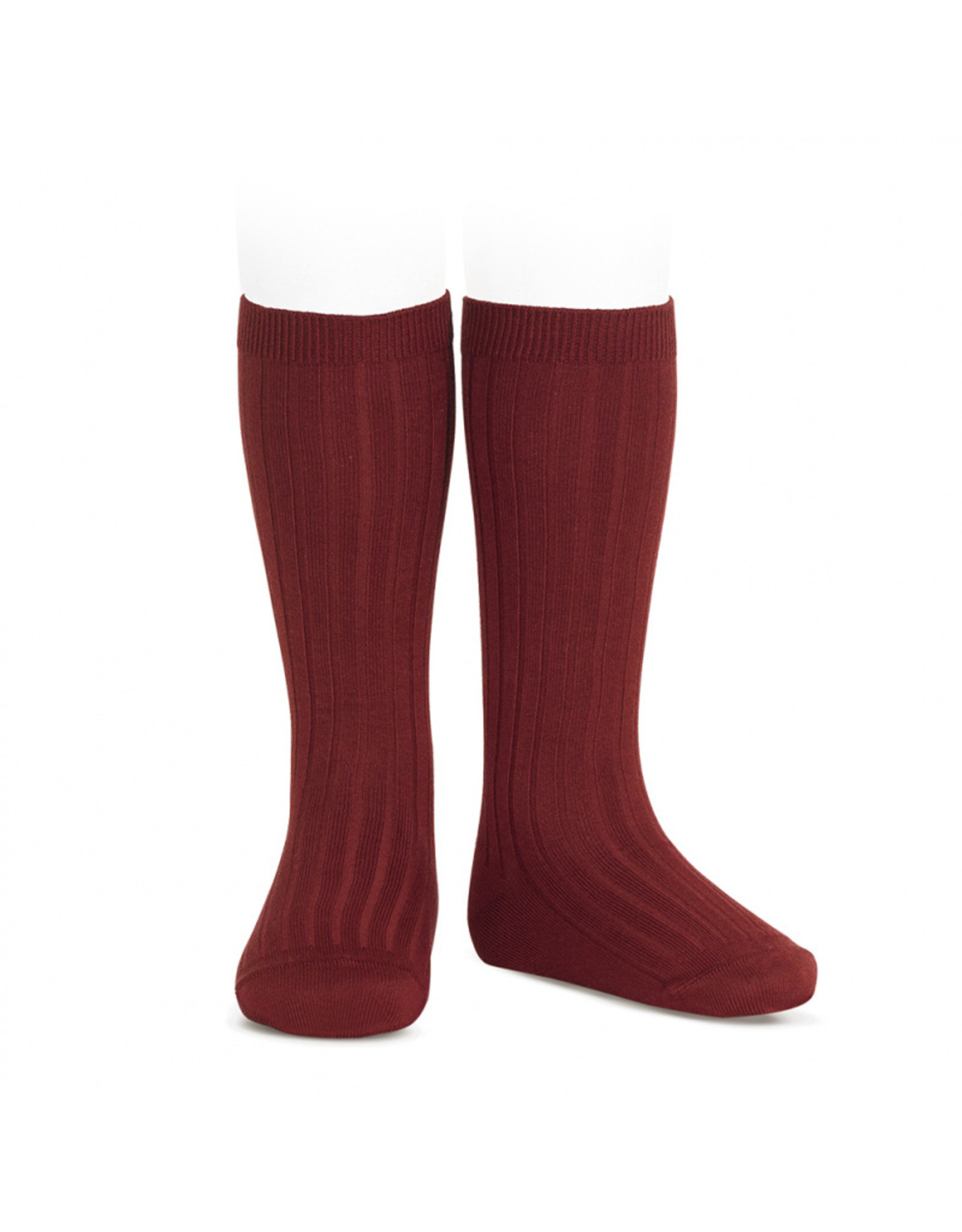 CONDOR Burgundy Ribbed Knee Socks