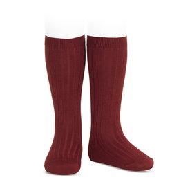 CONDOR Burgundy Rib Knee High Socks