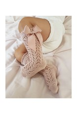 CONDOR Old Rose Openwork Knee High Socks with Bow