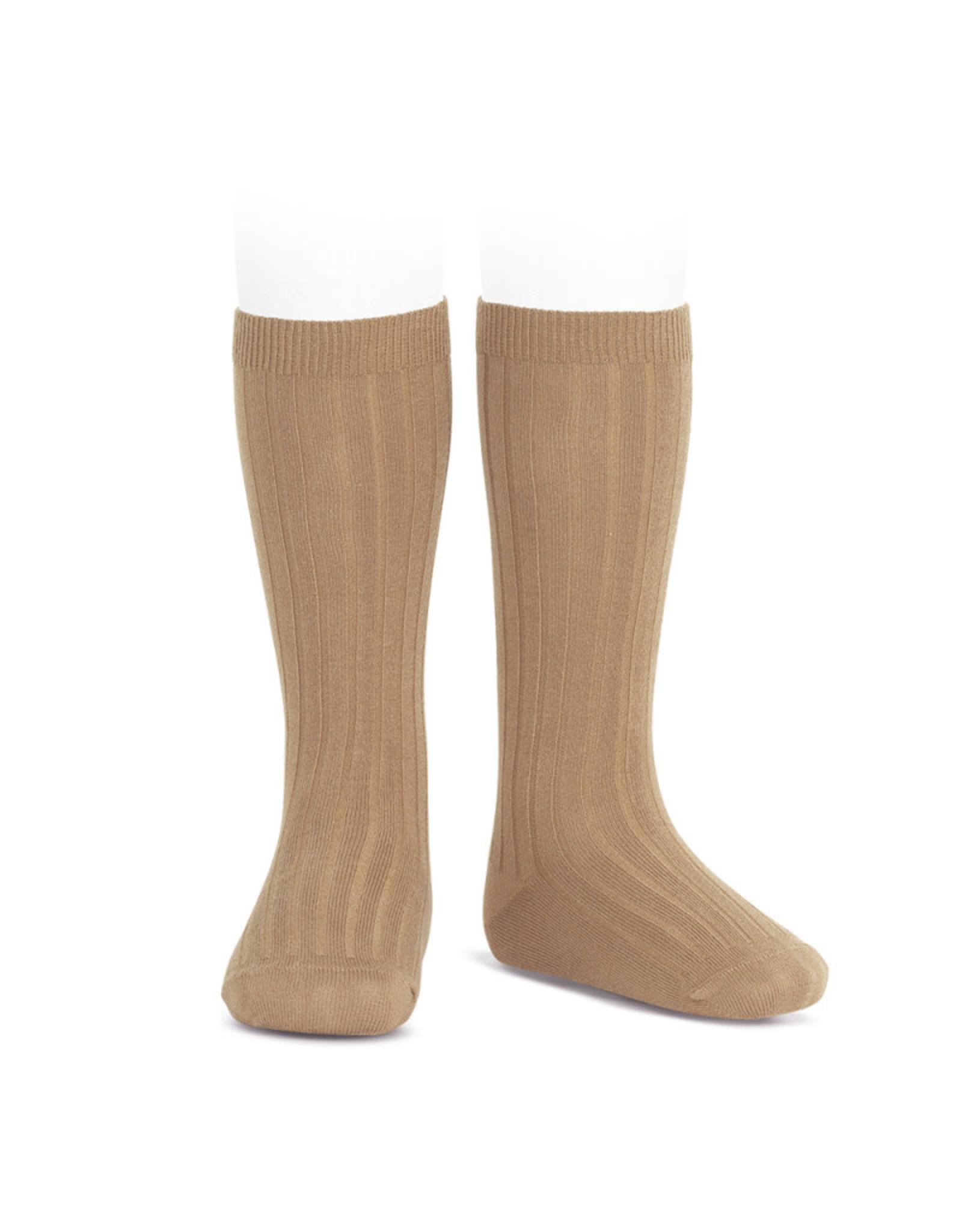 CONDOR Camel Ribbed Knee Socks