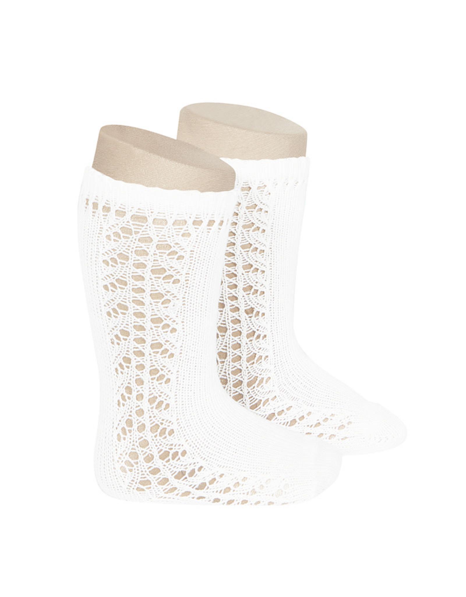 CONDOR White Warm Side Openwork Socks