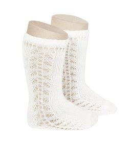 CONDOR Cream Side Openwork Knee Socks