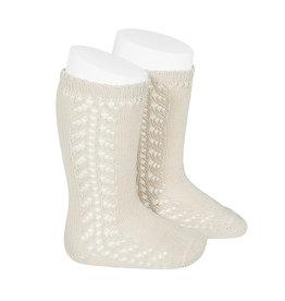 CONDOR Linen Side Openwork Knee Socks