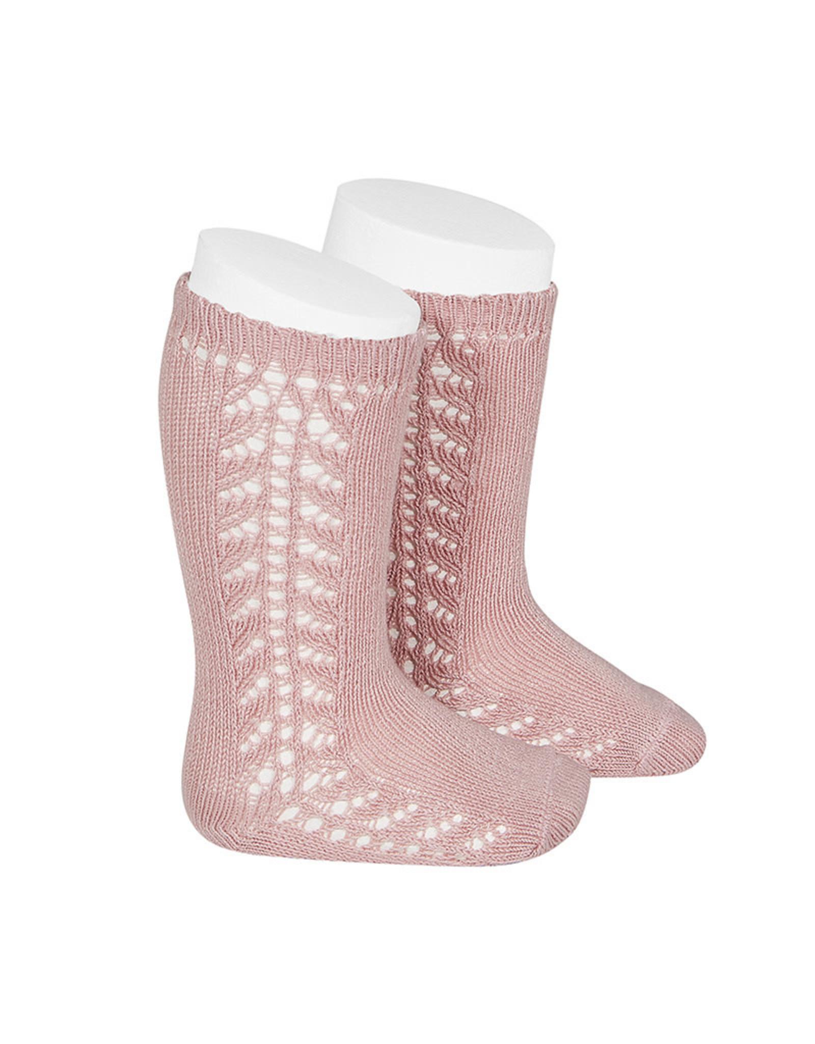 CONDOR Pale Pink Warm Side Openwork Socks