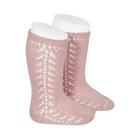 CONDOR Pale Pink Side Openwork Knee Socks