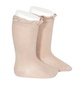 CONDOR Old Rose Lace Edging Knee Socks