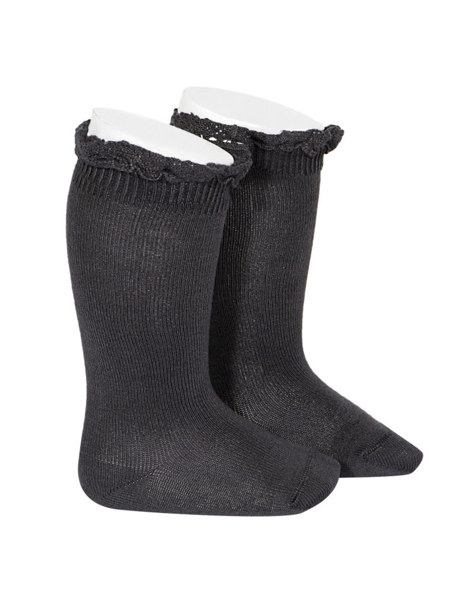 CONDOR Coal Lace Edging Knee Socks