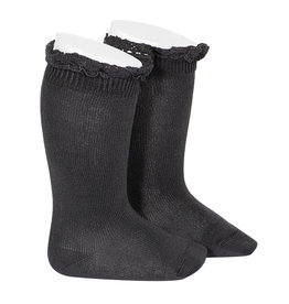 CONDOR Coal Lace Edging Knee Socks