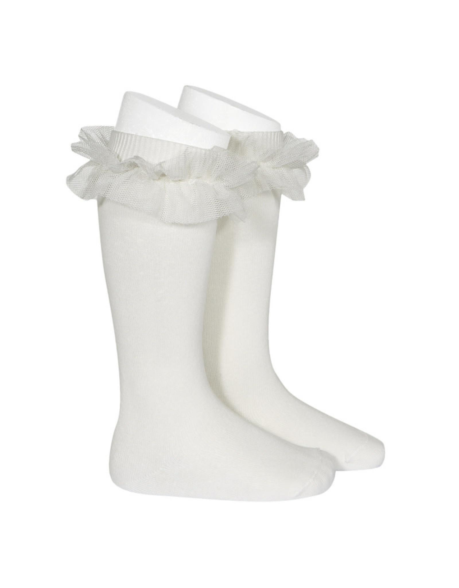 CONDOR Cream Tulle Ruffle Knee Socks