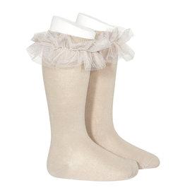 CONDOR Stone Tulle Ruffle Knee Socks