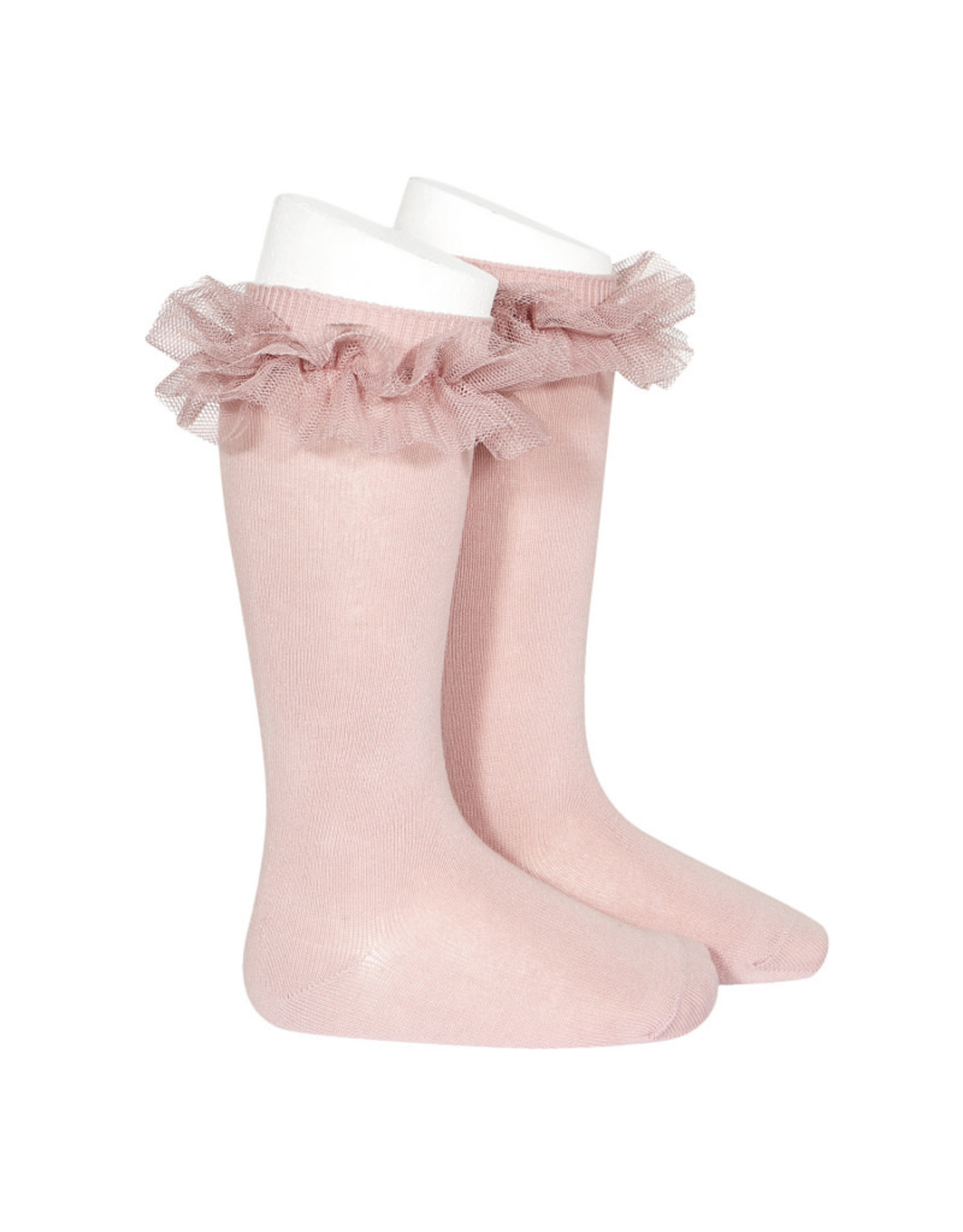 CONDOR Pale Pink Tulle Knee Socks