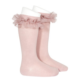 CONDOR Pale Pink Tulle Ruffle Knee Socks