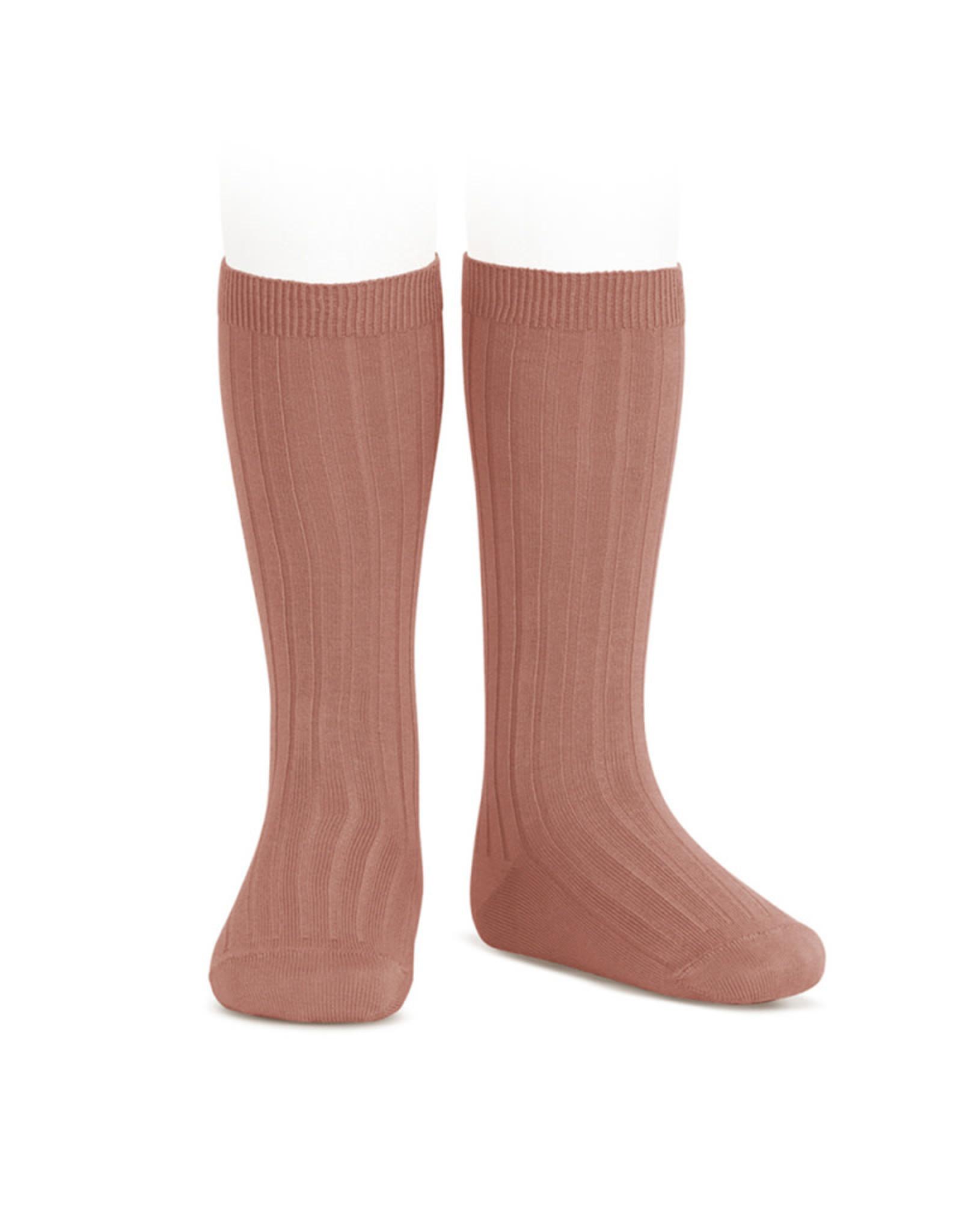 CONDOR Terracotta Ribbed Knee Socks