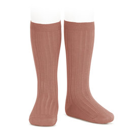 CONDOR Terracotta Ribbed Knee Socks