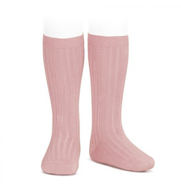 CONDOR Pale Pink Ribbed Knee Socks