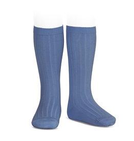 CONDOR French Blue Rib Knee High Socks