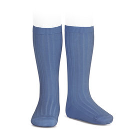 CONDOR French Blue Ribbed Knee Socks